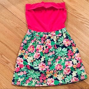 Lilly Pulitzer Pink Floral Strapless Mini Dress